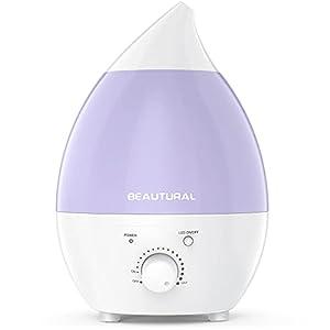 Beautural 1.3 litros Humidificador ultrasónico, No Ruido & Luces LED de 7 Colores con la función Apagado automático para su hogar y Oficina