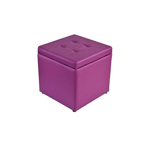 DISS Taburete de Almacenamiento, Troncos de Almacenamiento, Sofá Saco de Taburete, Zapato de Cuero Cambio de Taburete, para Dormitorio, Pasillo, Sala de Estar, 40 * 40 * 40 cm (Color : Purple)