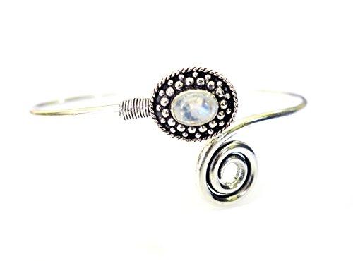 Armreif für Damen und Herren, echtes blaues Feuer-Mondstein, handgefertigt, oxidiertes Silber, verstellbar, Ethnische Mode, modernes Designer-Armband für Damen und Herren, Tribal Gypsy Boho-Design