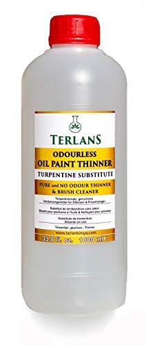TERLANS Verdünner für Ölfarben, Komplett Geruchlos 1000 ml Terpentinersatz/Pinselreiniger/Entfetter