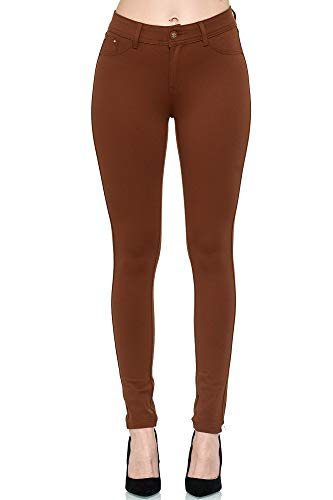 Elara Damen Stretch Hose Skinny Fit Jegging Chunkyrayan H01-30 Brown 38 (M)