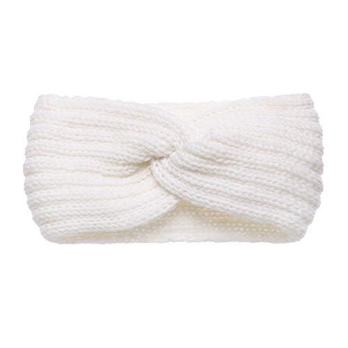Mujeres Crochet Turbante Diadema Tejer Sombreros Calientes Invierno Cabeza Wrap Tejiendo Cruz Sólida Banda de Pelo (10)