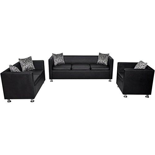 Festnight Sofaset Wohnzimmersofa Couch Loungesofa 3-Sitzer-Sofa 2-Sitzer-Sofa 1-Sitzer-Sessel mit 5 Kissen Sitzkomfort Schwarz