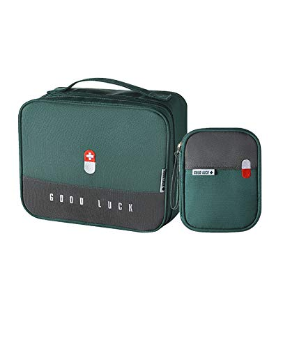 WLL First Aid Kit Bag Empty, 2 Pcs Emergency Survival Kit Bag, Medicine Bag First Aid Pouch For Car Travel Camping Backpacking Sports Outdoor 25X20X13.5cm (Color : Green)