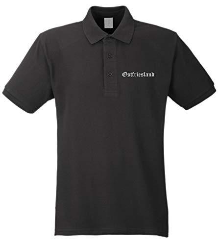 Ostfriesland Poloshirt - Altdeutsch - Bestickt - Polohemd Piqué Shirt Schwarz L