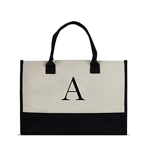 Monogram Tote Bag with 100% Cotton Canvas and a Chic Personalized Monogram (Black Block Letter - A)