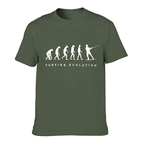 Camiseta de algodón para hombre, diseño de evolución de surf, divertida, elegante, cómoda, con temática verde militar XXXL