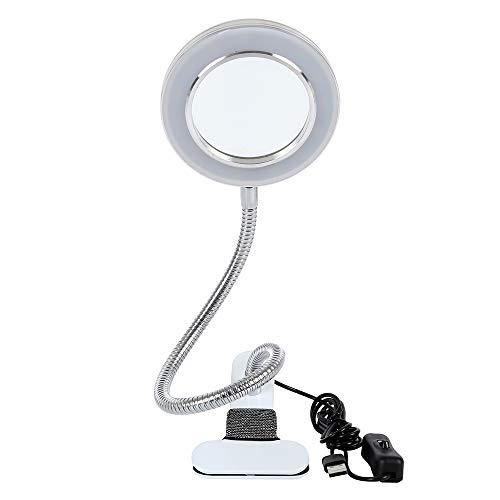 Lámpara con lupa con soporte, 8 aumentos, con luz y pinza de mesa, para lectura, cosmética, trabajo, costura