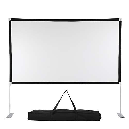 Pantalla de proyección portátil, pantalla de proyección 16: 9, pantalla de proyección plegable, pantalla de proyección motorizada, tela para proyector con soporte para uso doméstico y exterior