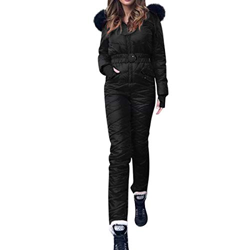 wenyujh Skianzug Damen Skisuit Einteiliger Winter Warme Skianzüge Schneeanzug Jumpsuit mit Reißverschluss Winddichte Skioverall für Frauen(Schwarz,M)