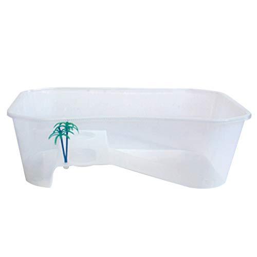 Xzbnwuviei Tanque abierto de tortugas anfibio con terraza, caja de tortugas de reptiles vivarium con rampa de soleo, tanque de acuario de cría de alimentos, accesorios