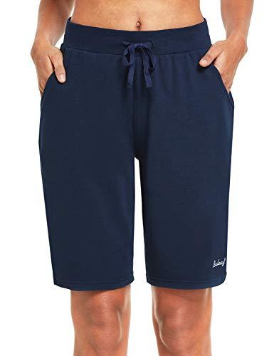 BALEAF Bermuda Long en Coton pour Femme 25,4 cm avec Poches - Bleu - Taille L