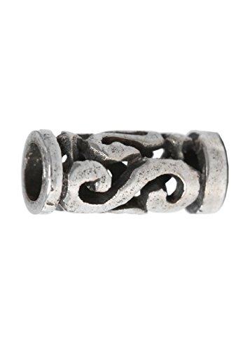 Battle-Merchant Bartperle klein mit Spiralen aus echtem Silber Wikinger Ø 2mm