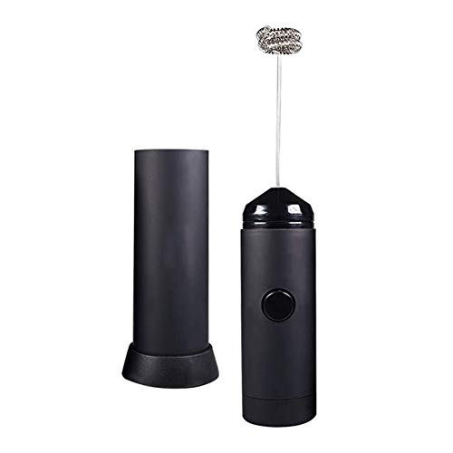 Mini Handheld melkopschuimer - Battery Operated Electric Foam Maker |Inclusief Kitchen Stand, Latte warme melk Eggbeater, Coff (Color : Black)