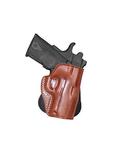Premium Leather OWB Paddle Holster Open Top Fits Kimber 1911 Ultra II 45 ACP with Crimson Trace Grips 3''BBL, Right Hand Draw, Brown Color #1469#