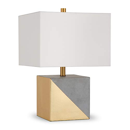 Henn&Hart TL0029 Industrial Modern Gold Dipped Concrete Bedside Table White Linen Shade for Nightstand, Bedroom, Living Room, Office, Study Lamp, One Size