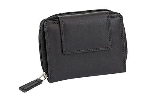 LEAS Große Vollleder Damen Geldbörse mit RFID Schutz Reißverschluss rundherum Damenlangbörse Portemonnaie Echt-Leder, schwarz