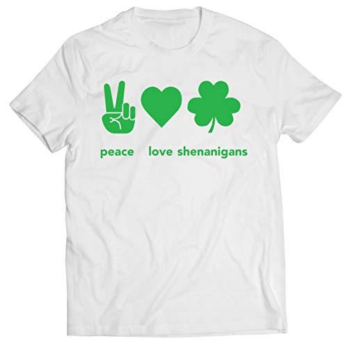 lepni.me Camisetas Hombre Paz y Amor Shenanigans Regalo para la Fiesta del Día de San Patricio en Irlanda (M Blanco Multicolor)
