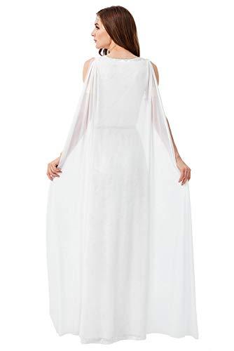 Disfraz De Mujer Griego Elegante con Cuello En V Sin Mangas Side Slit Maxi Vestido De Noche Mitologia Antigua Personaje Cosplay Vestido De Noche Largo Formal Blanco, S