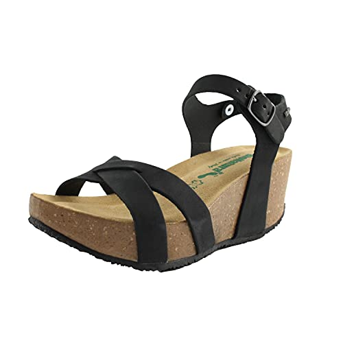 BioNatura sandali zeppa comodi donna in gomma sughero e pelle nera cod.24 FREGE NERO n.38