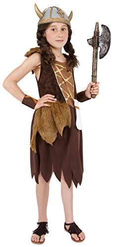 Smiffy'S 38650M Disfraz De Chica Vikinga Con Vestido Y Muñequeras, Marrón, M - Edad 7-9 Años