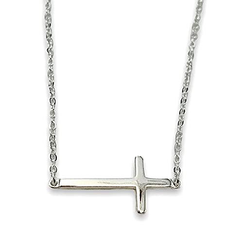 Collar de cruz para mujer de plata de ley 925, colgante de cruz de plata 925, joyería cristiana, cadena ajustable con colgante de cruz