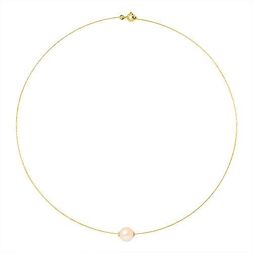 Pearls & Colors halsketting met gekweekte zoetwaterparel, rond, 9-10 mm, kwaliteit AA +, natuurlijk roze, halfvaste kabel, geelgoud, klassieke damessieraden