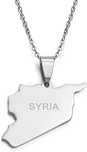 BACKZY MXJP Collar Mapa de Siria Collares 316 encantos de Acero Inoxidable Collares Pendientes Joyería Siria Oriente Medio