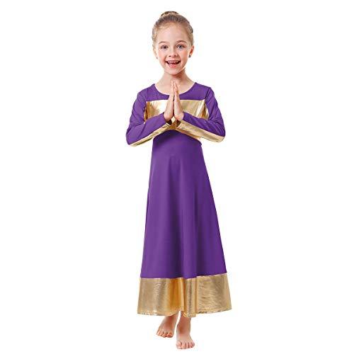 OBEEII Niñas Vestido de Danza Litúrgico Manga Larga Metálico Patchwork Elegantes Ropa Leotardo Gimnasia Ballet Baile Alabanza Vestidos de Fiesta Gimnasia Morado 7-8 Años