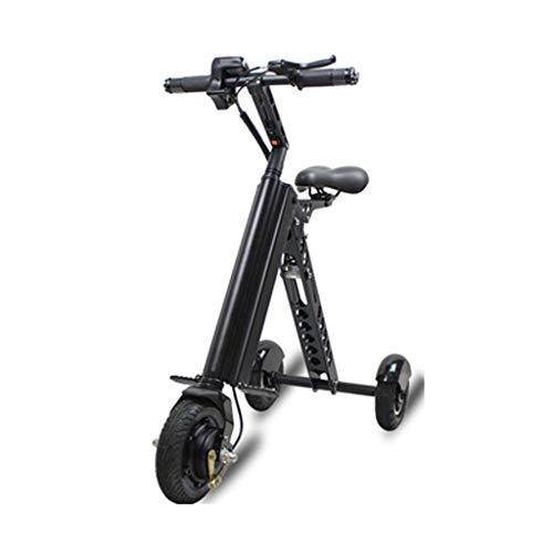 Lxrzls Erwachsene Folding Erzeugung Fahren Elektroauto, ES30 elektrischer Roller Mini Faltbare Dreirad-Roller Folding Tretroller-Elektro-Scooter for Erwachsene (Color : Black)