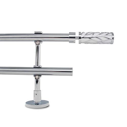 """Gcurtain Barra de Cortina de Metal Diámetro Estándar Diámetro 3/4"""" - 5/8"""" (16-19 mm) Ajustable Fácil Ventana Decorativa Diseño Elegante - Rama Blanca / 44""""-82"""" (110-210Cm)"""