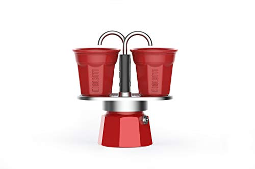 Bialetti Mini Express Color, Espressokocher Set 2 Tassen + 2 Becher, Aluminium, Rot
