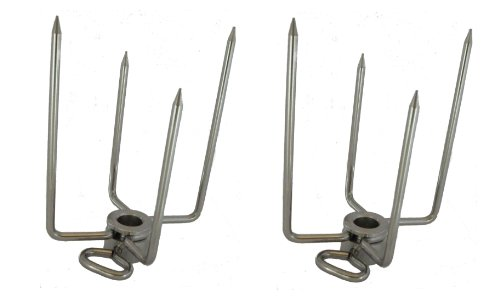 OneGrill Stainless Steel Grill Rotisserie Spit Rod Forks (Fits: 1/2 Inch Hexagon, 3/8 Inch Square, 1/2 Inch Round)