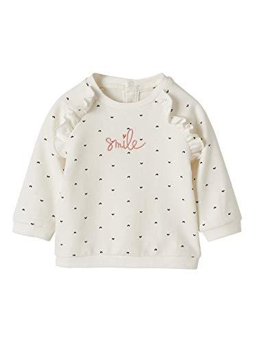 Vertbaudet Baby Mädchen Sweatshirt mit Rüschen wollweiß Bedruckt 74
