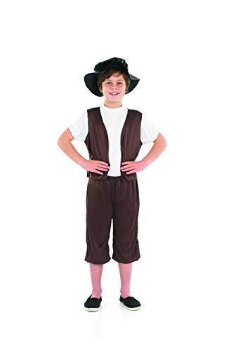 Fun Shack Déguisement pour Enfant Costume de Paysan D'Époque Tudor Marron pour Garçon - Taille M