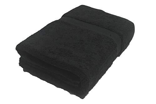 Chely Intermarket - 550 g Toalla de baño de algodón básica 100x140 cm (Negro) para Ducha, Playa, Piscina o Gimnasio, Textura Suave.