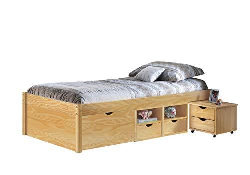 Inter Link Alpine Living Bett Funktionsbett Einzelbett Liege Bed Stauraumbett Kiefer massivholz Natur lackiert
