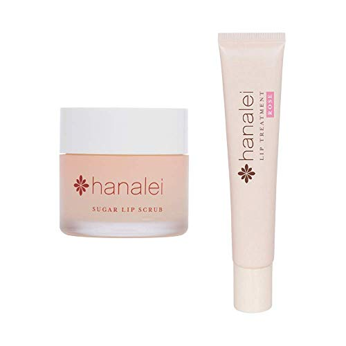 Hanalei Sugar Lip Scrub and Lip Treatment (Rose) Bundle, Made with Raw Cane Sugar and Real Hawaiian Kukui Nut Oil (Cruelty free, Paraben free)