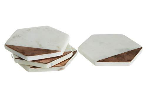 Premier Housewares Set di 4 sottobicchieri in Marmo Bianco e Rame