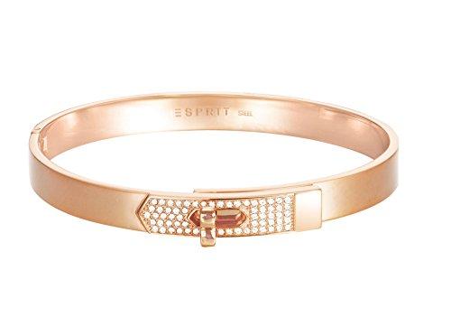 ESPRIT Damen-Armreif JW50226 Rose Edelstahl Glas weiß 24 cm - ESBA11178C600