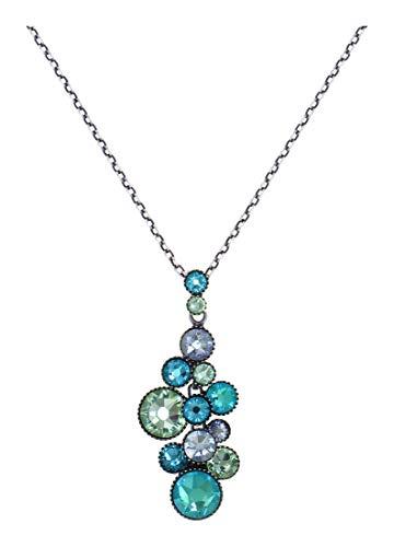 Konplott: Collar Water Cascade Minty Fresh Blue/Green, colgante grande de cristal azul turquesa con cadena para mujer