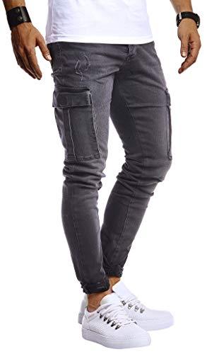 Leif Nelson Herren Jogger Jeans Cargo Hose Stretch Slim Fit Basic Denim Blaue Lange Jogg Jeanshose für Männer Jungen weiße Freizeithose Schwarze Chino Cargohose LN9445 Schwarz W33L32