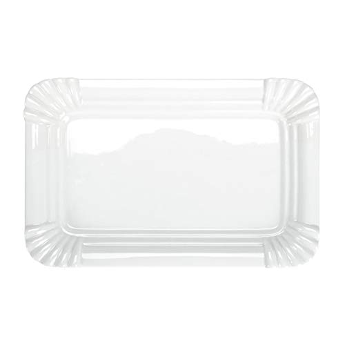 BUTLERS Puro Teller in Pappoptik - Qualitätsporzellan, 30,5x19,5 - Weißer Porzellanteller - Origineller Speiseteller