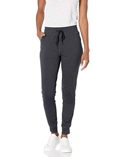 Amazon Essentials Brushed Tech Stretch Jogger Running-Pants, Black Spacedye, Large