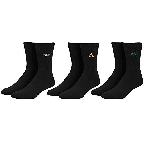 Legend of Zelda Socken mit gestickten Symbolen, 3er-Pack
