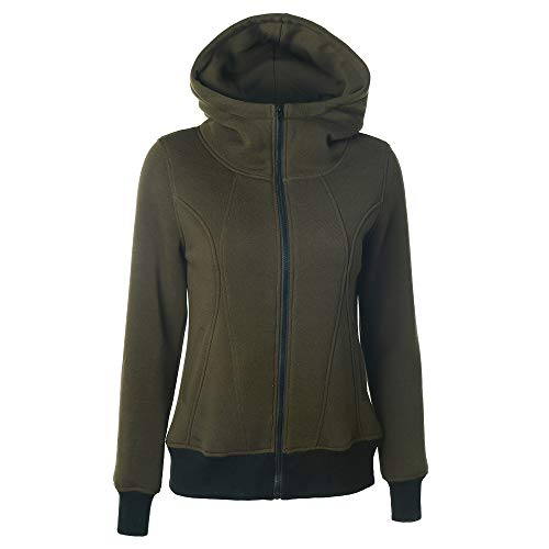 Morton PegfwaS Frauen High Collar Hooded Zipper Langarm Pocket Stitching Sweater Sweatshirt-Oberteil