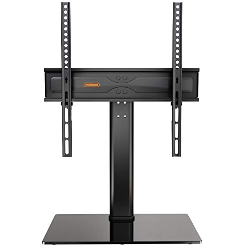 VonHaus Table Top TV Stand and Bracket, Pedestal TV Mount for 27-55 inches LCD/LED/Plasma Screens - Height Adjustable and VESA Compatible – Tempered Glass Base with Anti-Slip Feet