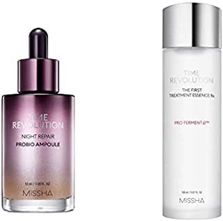 MISSHA Bundle Time Revolution Night Repair Probio Ampoule and Time Revolution The First Treatment Essence RX - Skin Purifying and Smoothing Set for First Step in Skincare After Cleansing
