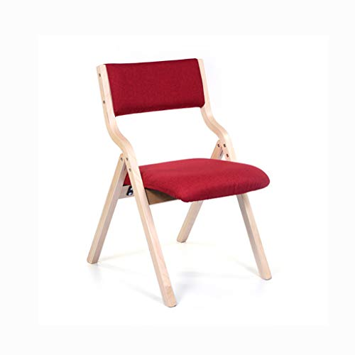 LJZslhei Stuhl Leisure Home Modern minimalistisch Esszimmerstuhl Schreibtischstuhl zurück Stuhl Klappstuhl rotes Kissen (Color : Wood Color)