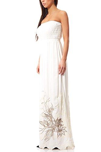 Maxikleid Jerseykleid Große Größen Kleid Sommerkleid Weiß rick cardona by heine, Größenauswahl:44